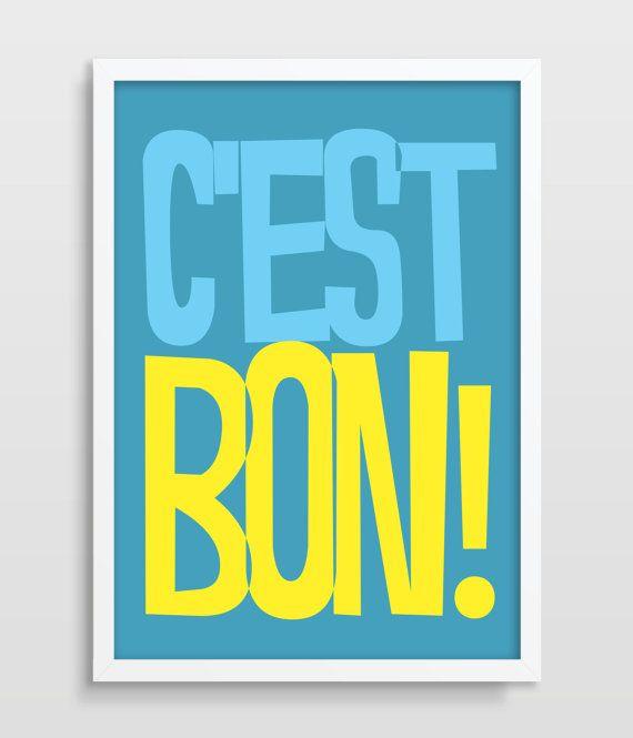 Digital Print French Quote Print Typography Poster C Est Bon Print Retro Print Retro Poster Print A4 A3 5x7 8x10 11x14 Uk Print Avec Images Affiche De Typographie Affiche Retro Citation Typographie