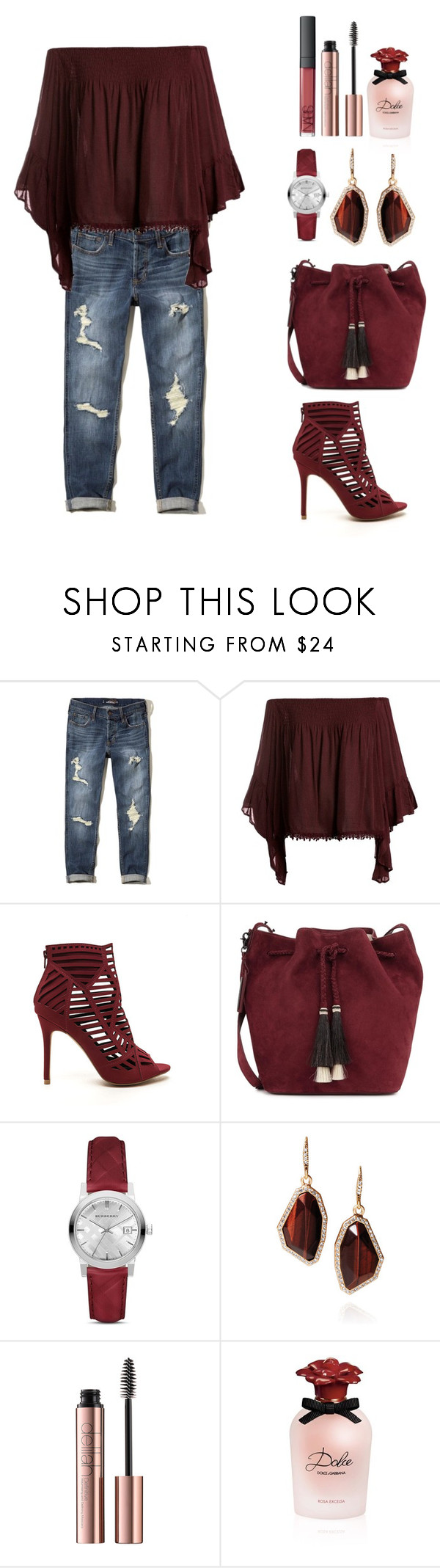 """Eye of the Tiger"" by itsmeambra ❤ liked on Polyvore featuring Hollister Co., Sans Souci, Loeffler Randall, Burberry, Chloe + Isabel and Dolce&Gabbana"
