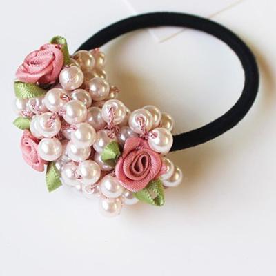 Faux Pearls Elastic Beads Hair Rope Rubber Hair Ties Scrunchies Ponytail Holder