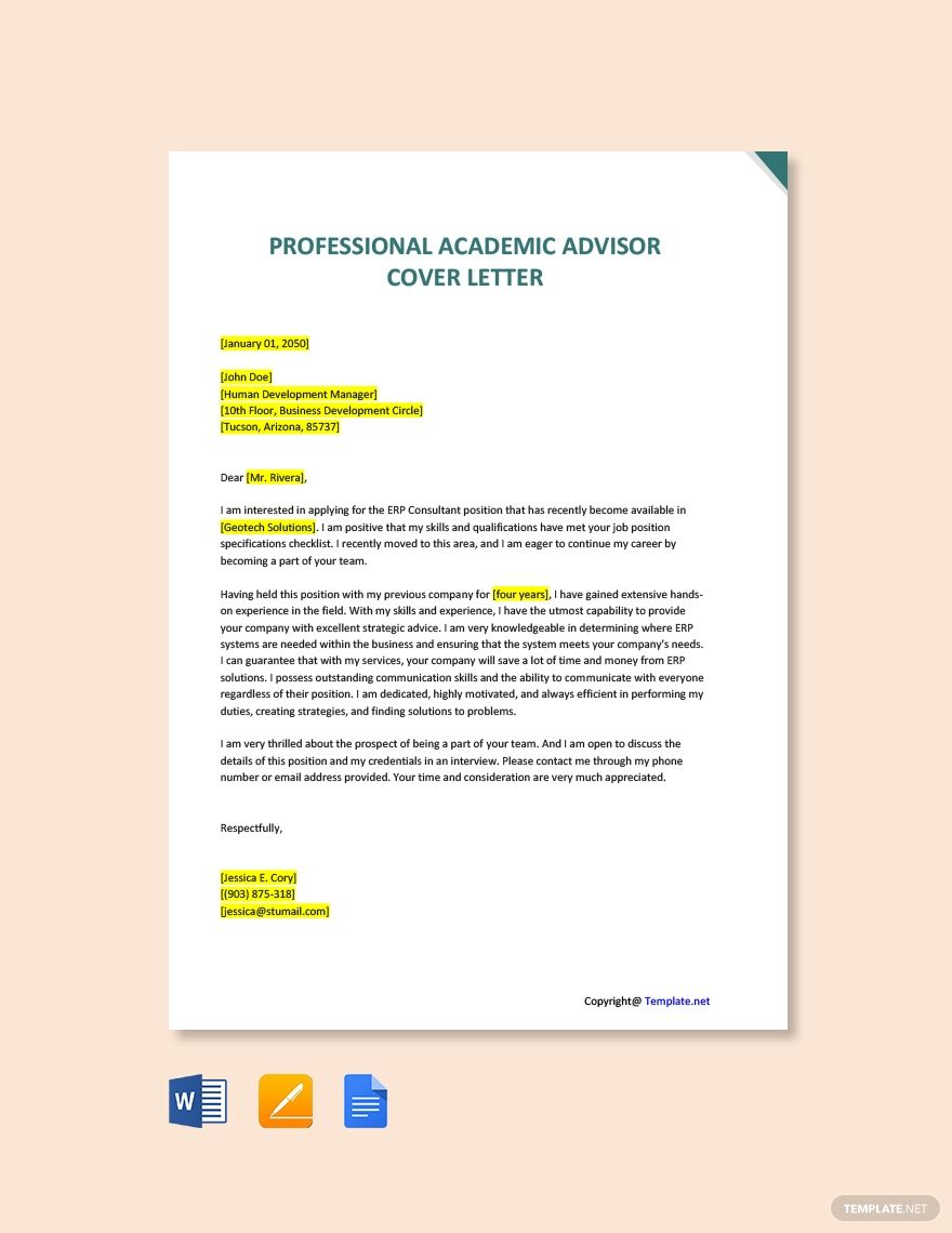 Professional Academic Advisor Cover Letter Template Free Pdf Google Docs Word Apple Pages Template Net Cover Letter Template Cover Letter Template Free Lettering