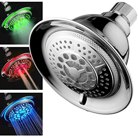 Amazon Com Dreamspa All Chrome Water Temperature Controlled Color Changing 5 Setting Led Shower Head By Top B Led Shower Head Shower Head Reviews Shower Heads