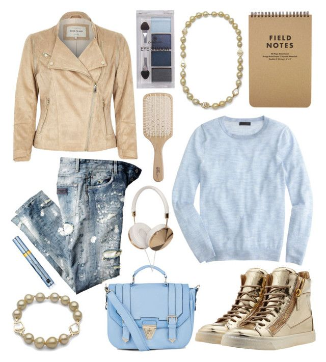 """""""Golden south sea"""" by littlehjewelry ❤ liked on Polyvore featuring Giuseppe Zanotti, River Island, J.Crew, Dolce&Gabbana, Frends, Philip Kingsley, Pieces and Estée Lauder"""
