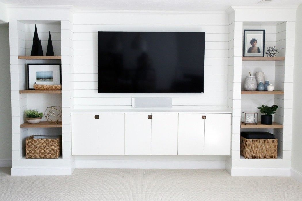 A Diy Shiplapped Built In Entertainment Center Built In Tv Wall
