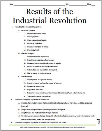 Results of the Industrial Revolution - Free Printable Outline for ...