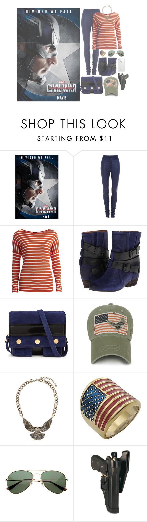 """Divided We Fall: Captain America"" by kingcrimson ❤ liked on Polyvore featuring Rodarte, VILA, Naya, Kenzo, Topshop, Lauren Conrad, CaptainAmerica, steverogers, TeamCap and TeamCaptainAmerica"