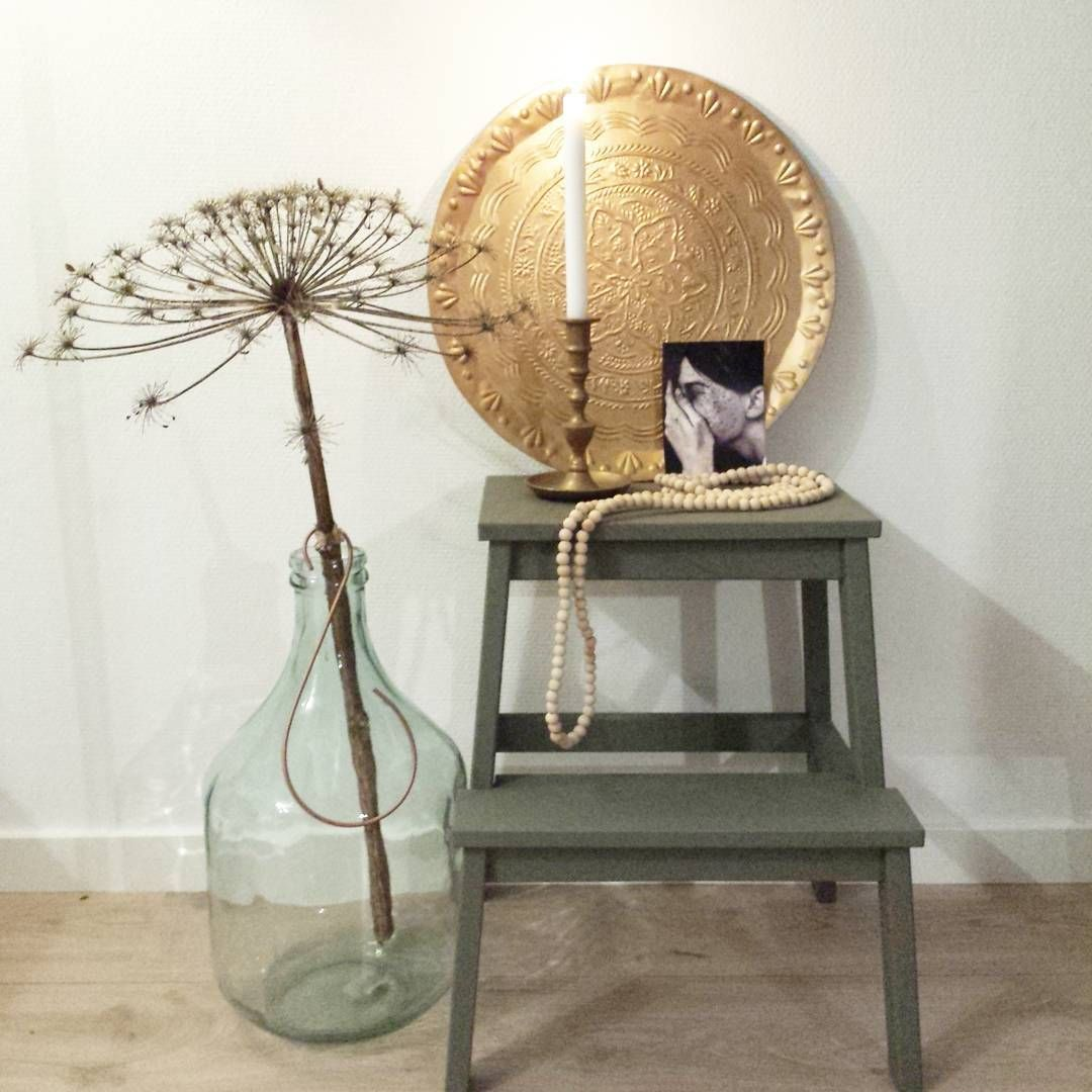 Ikea krukje bewerkt met de kleur olive van deco lifestyle decorative hobby paint krijtverf - Deco keuken kleur ...