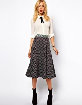 ASOS Midi Skirt In Geo Print