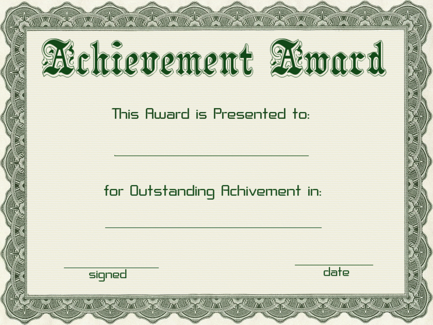 Certificate templates green award certificate powerpoint for Certificate template download