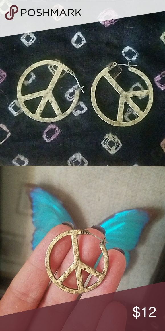 Download Brass Hammered Peace Sign Earrings (With images) | Peace ...