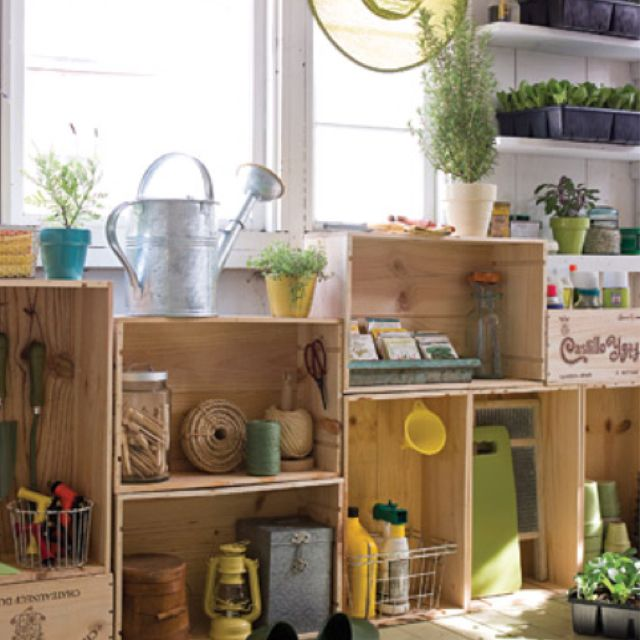 organized garden shed vintage wood crates repurposed on cheap diy garage organization ideas to inspire you tips for clearing id=68406