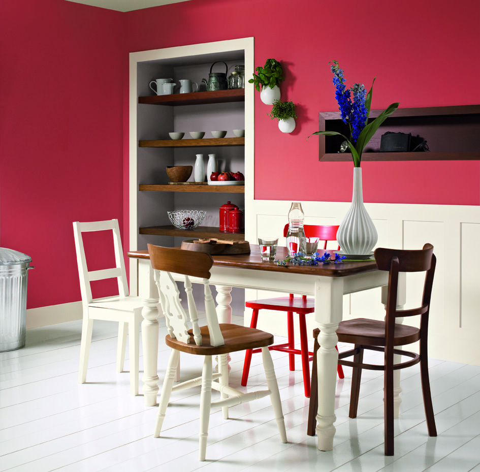 Casual Dining Room Decor Ideas: A Bold Dining Room With Crisp White Accents. Click The