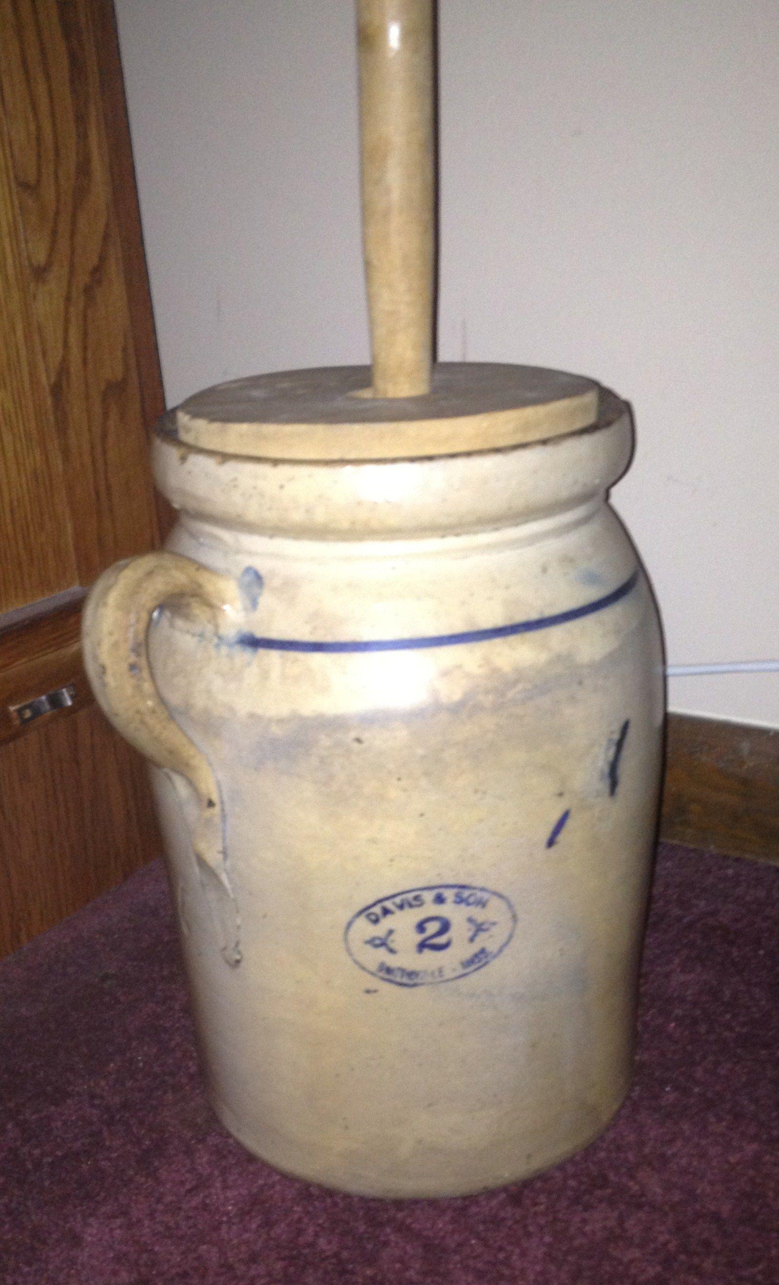 Davis And Son Pottery 2 Gallon Butter Churn Stoneware