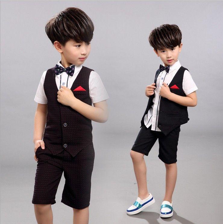 Summer Children Clothes Boys Set Dot Vest Short Pants Suits For