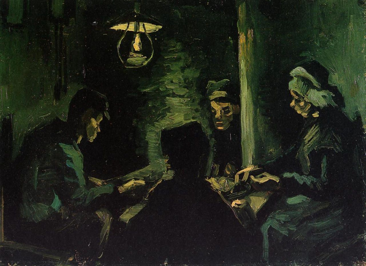 """Vincent van Gogh: """"Four Peasants at a Meal (Study for 'The Potato Eaters')"""",1885. (Van Gogh Museum, Amsterdam, Netherlands.) http://www.vangoghmuseum.nl/"""