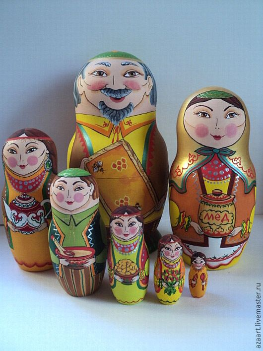 "Bashkir Matryoshka ""Bashkir Honey"" - Orange, dolls, souvenirs, gifts, souvenirs, dolls author"