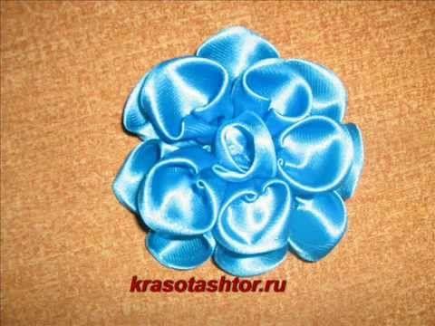 мастер-класс голубого цветка из атласной ленты в технике канзаши