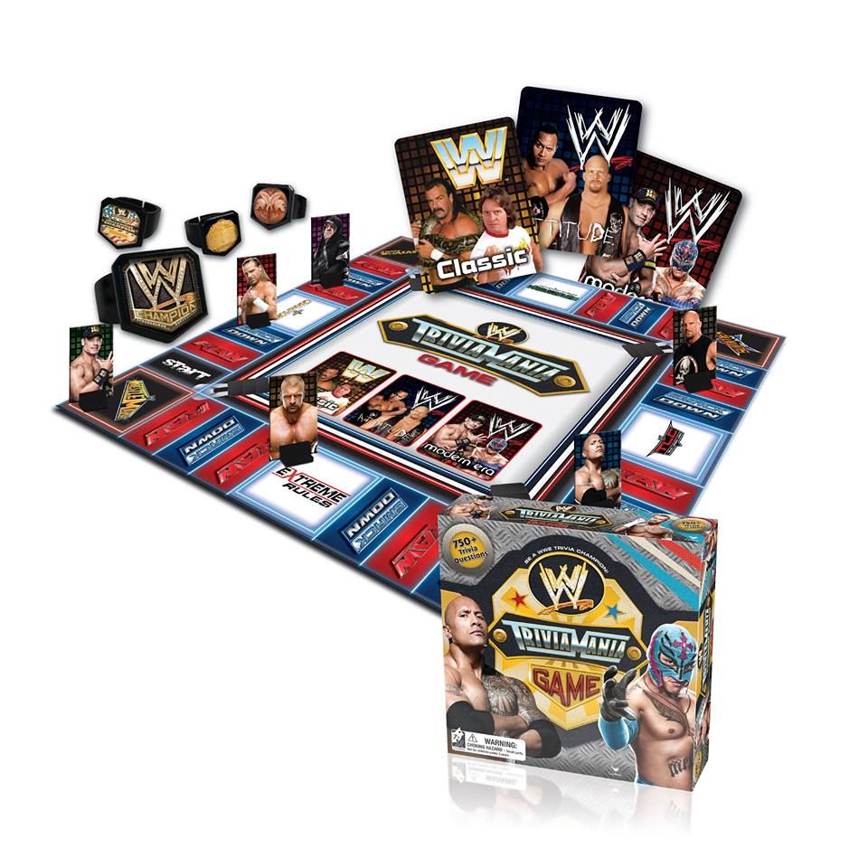 Enter Our Wwe Triviamania Twitter Throwdown To Win Your Own Copy Of Wwe Triviamania The Hot New Wwe Trivia Board Game Coming Au Trivia Board Games Wwe Games