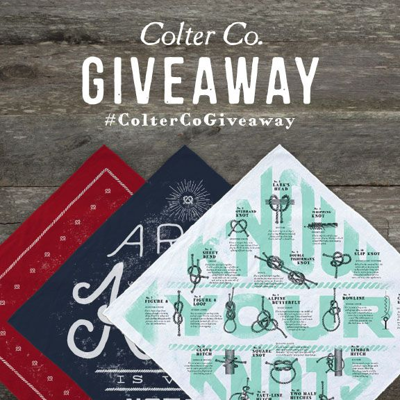 Enter to win a complete set of Colter Co. bandanas on instagram!  https://instagram.com/coltercousa/  Good luck!  #giveaway #ColterCo #bandana #style #function #KnowYourKnots #handkerchief #design