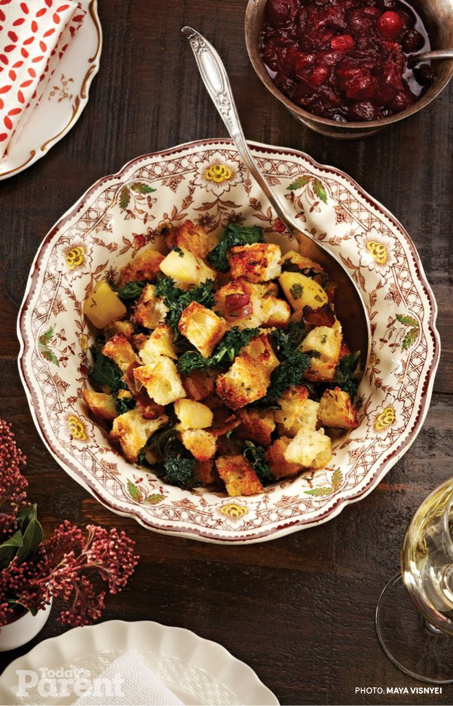 Rustic Kale and Bacon Stuffing... #StuffingRecipes #Recipes #Stuffing #ThanksgivingRecipes (Make the cranberry sauce, too: http://www.todaysparent.com/recipe/vegetarian/triple-cranberry-and-maple-compote-recipe/)