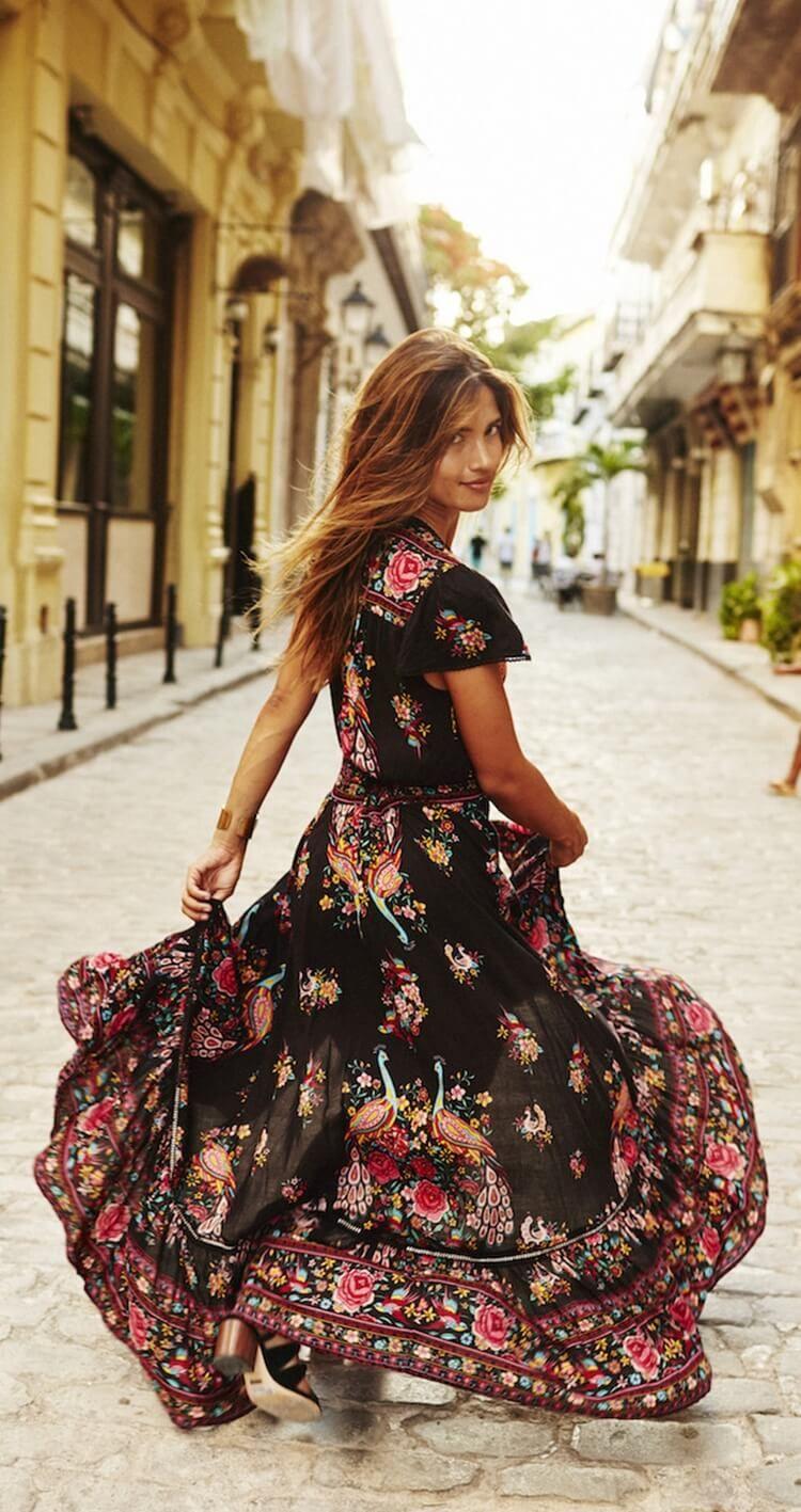 5e5a0d47ff Bohemian Floral Print Maxi Dress. Women fashion. Bohemian summer ...