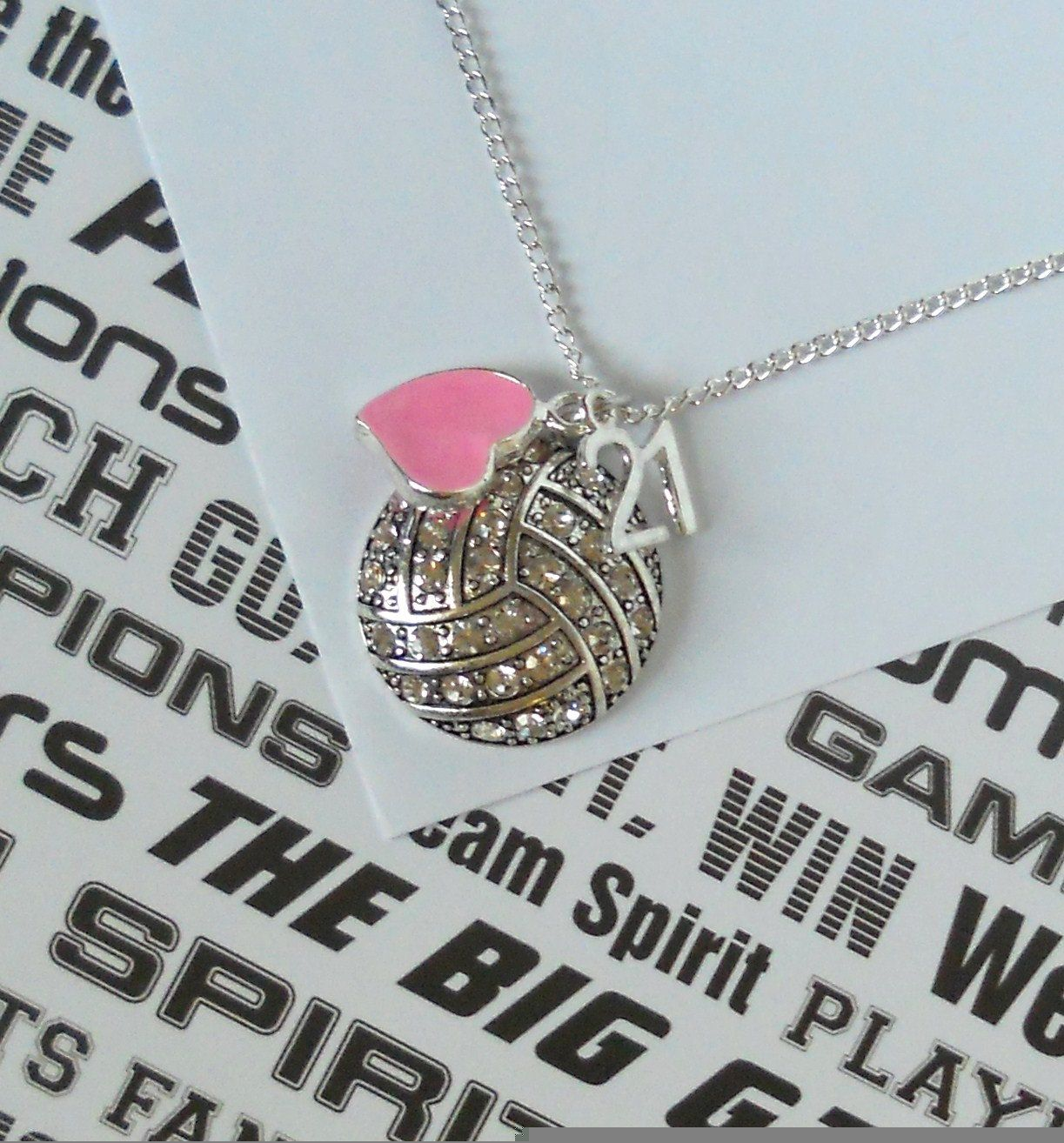 Volleyball Necklace With Crystals Rhinestones And Number Bling Handmade Jewelry With Images Volleyball Necklace Volleyball Jewelry Volleyball