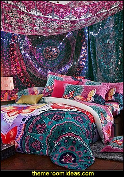 Boho bedding bohemian tapestries hanging ethnic decorative for Decorative bed quilts