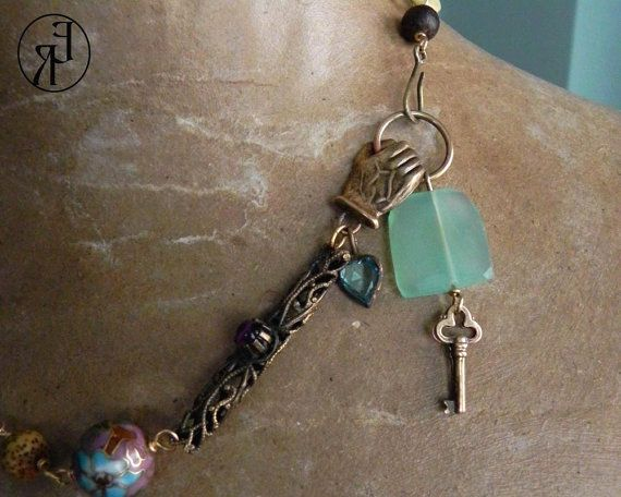 The Key to My Heart On My Sleeve Assemblage Necklace by AllEyeC