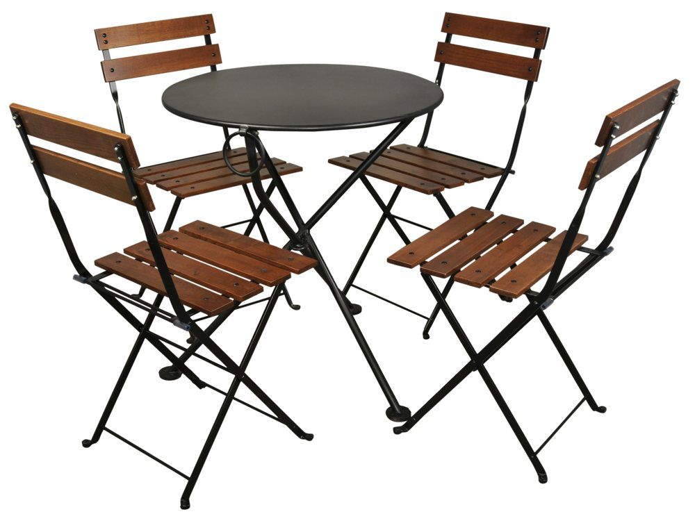 Furniture Designhouse French Cafe Bistro Chestnut Wood 5 Piece Round Folding Patio Dining Set Congregate For Conversation Or A Tasty Meal When Sitting