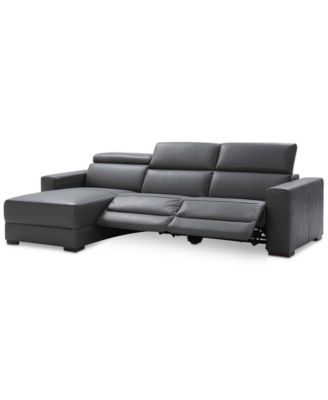 Nevio 3 Pc Leather Sectional Sofa With Chaise 2 Recliners And Articulating Headrests Created For Macy S Macys
