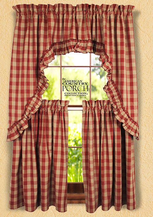 Wine Teadyed Buffalo Check Ruffled Window Curtain Swags Curtains Buffalo Check Curtains Window Curtains