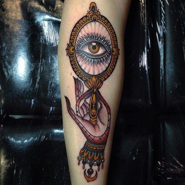 Small Mirror Tattoo: Hand, Mirror And Eye Art