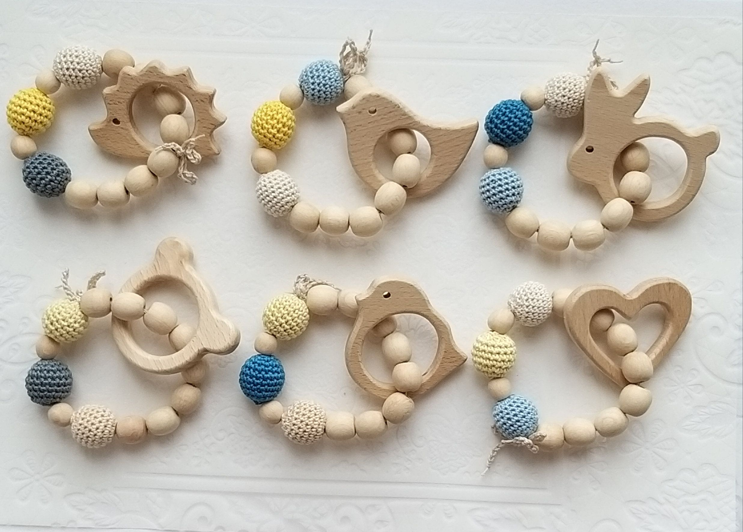 Wooden Teether Teething Ring Natural Untreated Beech Wood Baby Gift one