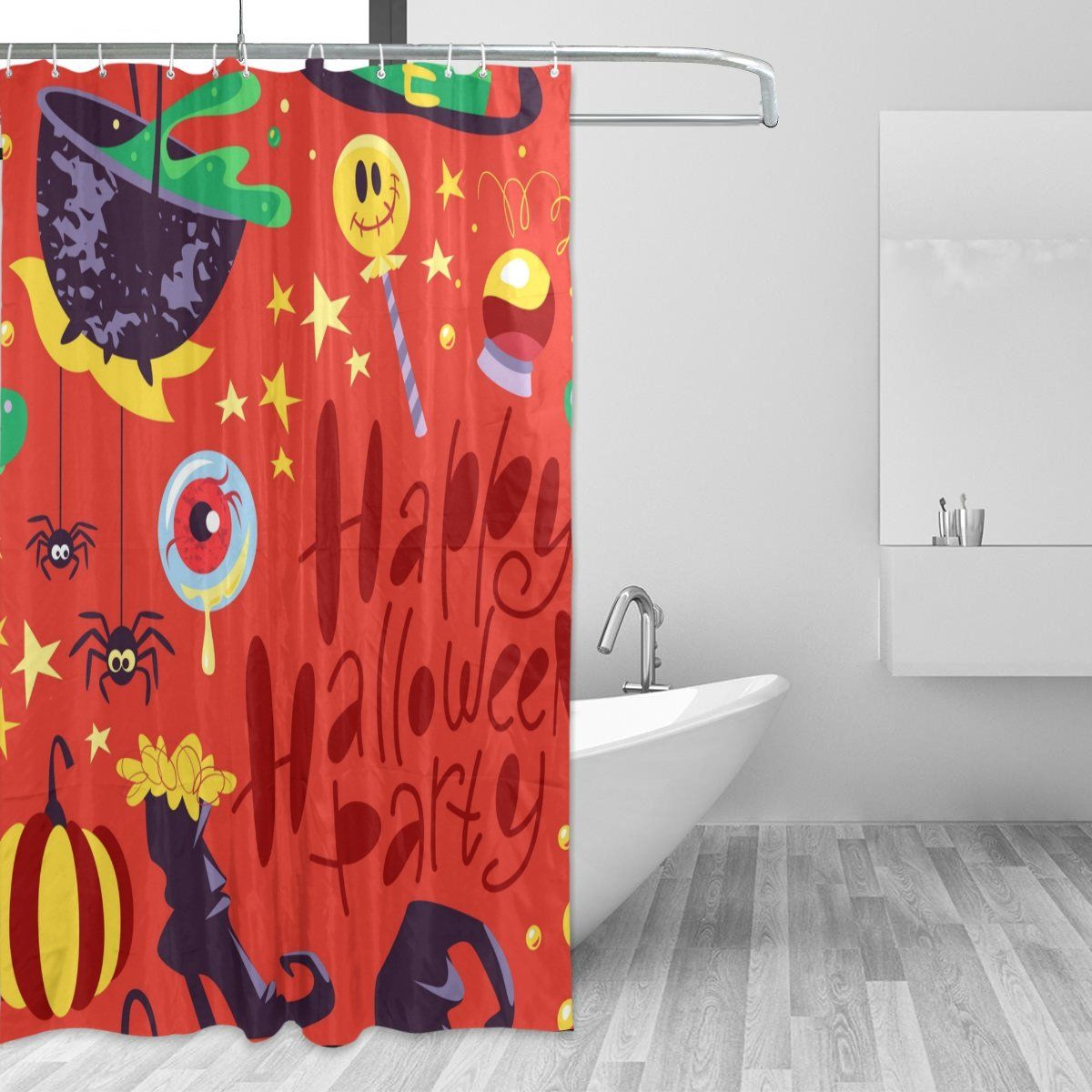 U Life Spooky Happy Halloween Colorful Skulls Decorative Bath