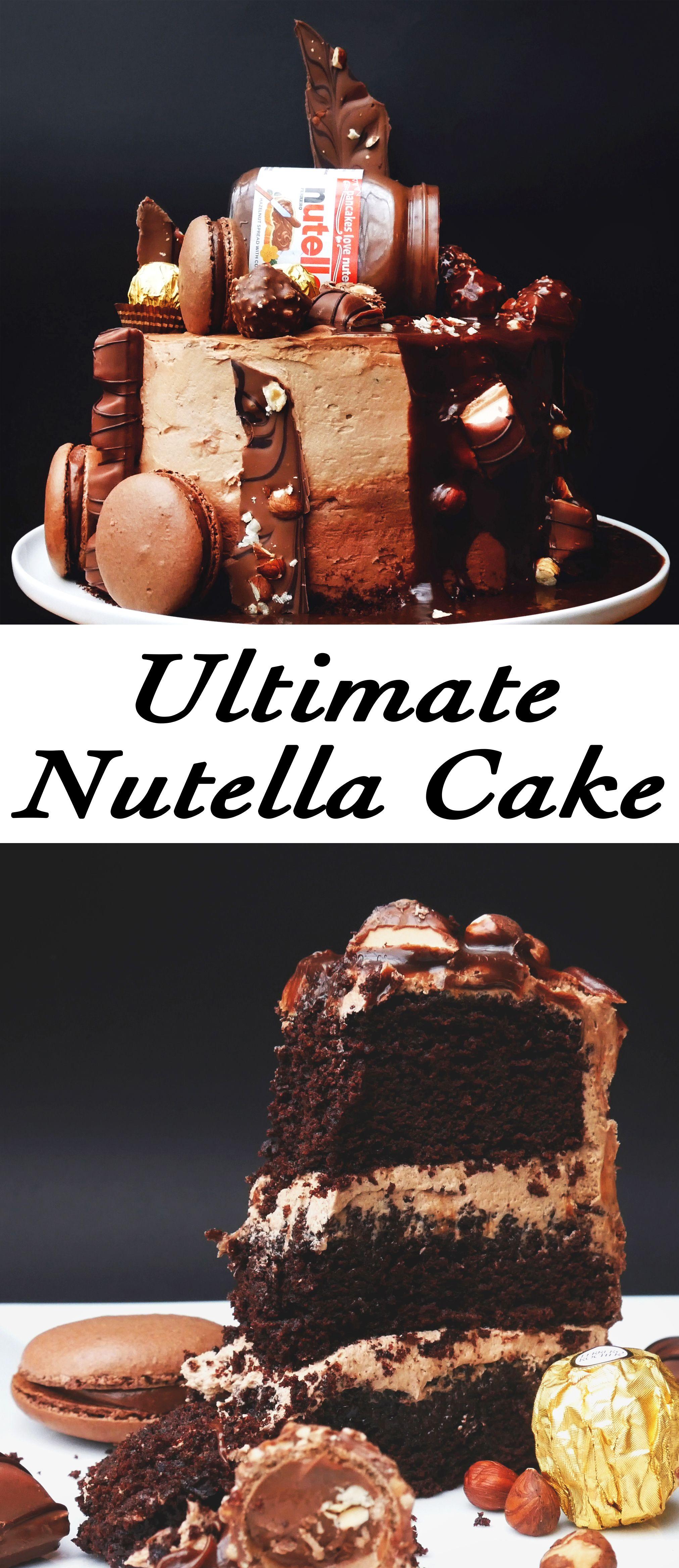 Ultimativer Nutella-Kuchen (Kinder Bueno, Ferrero Rocher, Nutella Macarons & Haselnüsse)