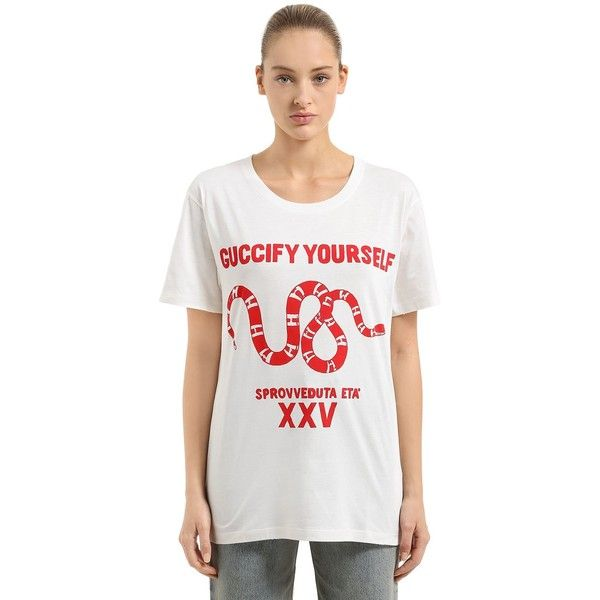 1ad6c559290 Gucci Women Guccify Yourself Printed Jersey T-shirt (605 AUD) ❤ liked on