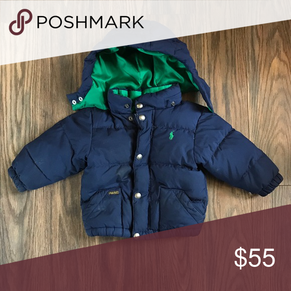 9994428c06531 Ralph Lauren Down Polo Coat RL 18 Month Navy Blue Down Coat with removable  hood.
