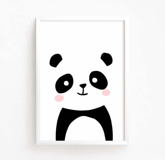 Baby Panda Bear Black And White Printable Art Baby Room Decor