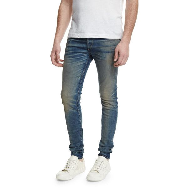 Rag & Bone Waterloo Distressed Skinny Jeans ($265) ❤ liked on Polyvore featuring men's fashion, men's clothing, men's jeans, waterloo, mens ripped jeans, mens blue skinny jeans, mens distressed skinny jeans, mens slim jeans and mens faded jeans