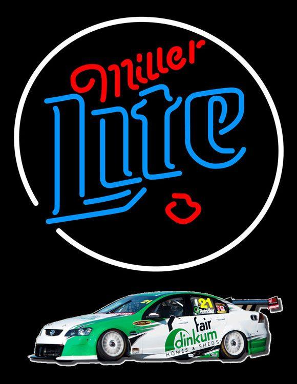 Miller Lite Rusty Wallace Race Car Neon Beer Sign, Miller