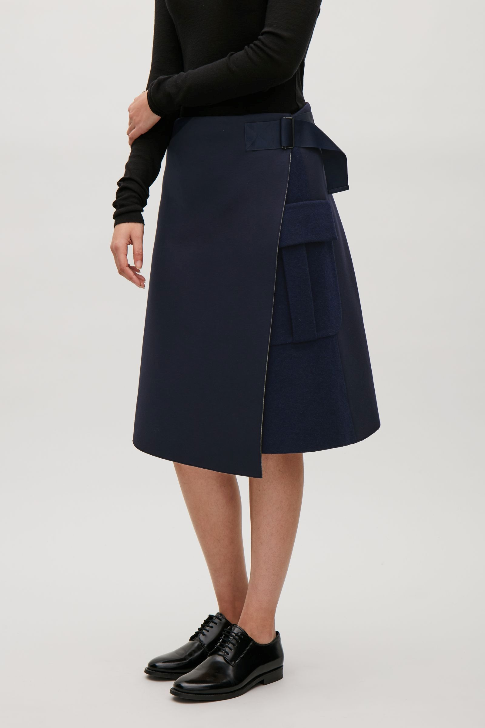 cabba0a741d3e5 COS image 3 of Wrap-over strap skirt in Navy | gifts | Skirts, High ...
