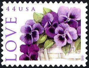 44c Pansies in a Basket single LOVE US Postage Stamp