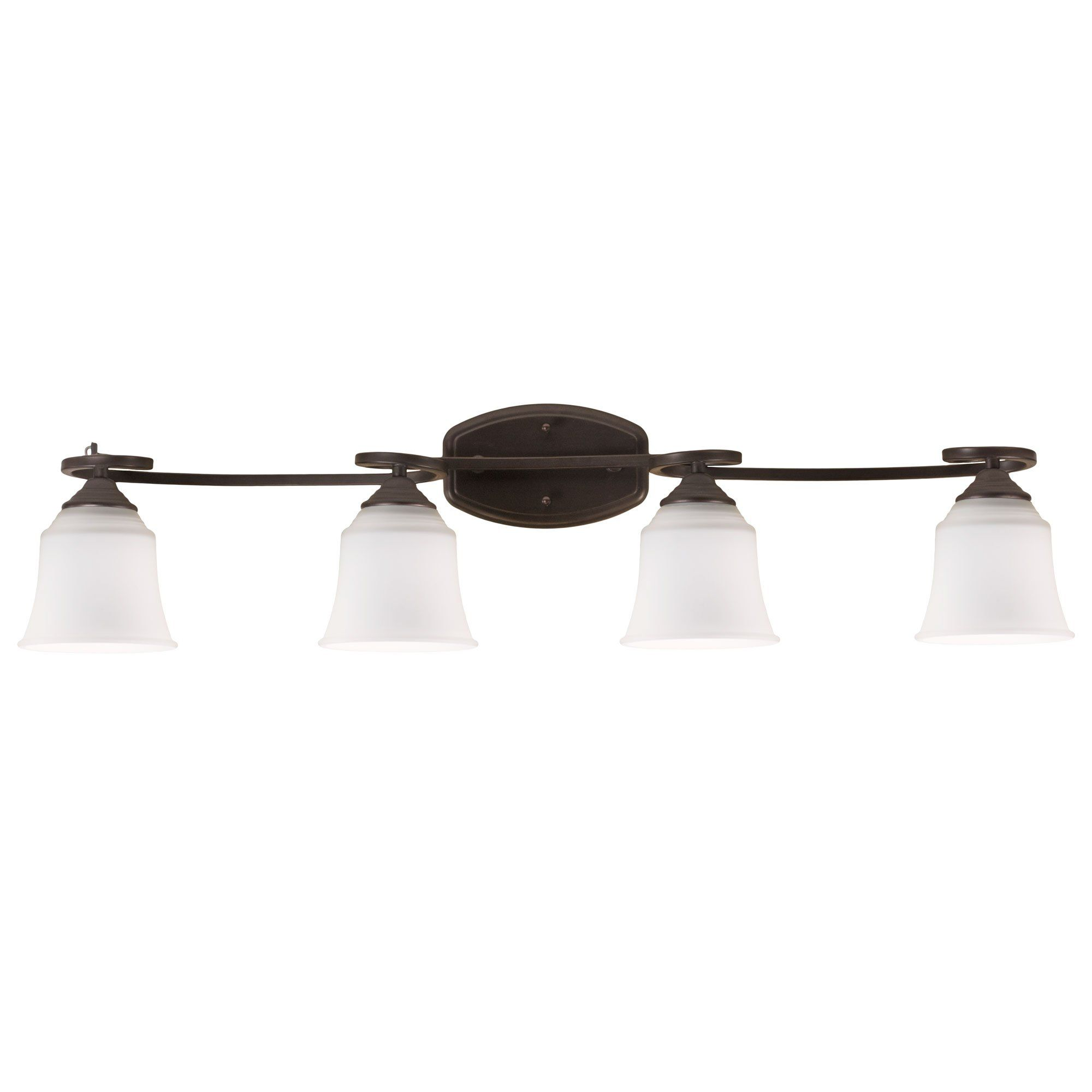 Oil Rubbed Bronze Vanity Light 4 Bulb Bath Wall Fixture Curled Base