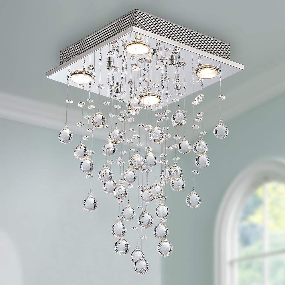 Bestier Modern Crystal Square Raindrop Chandelier Lighting Flush