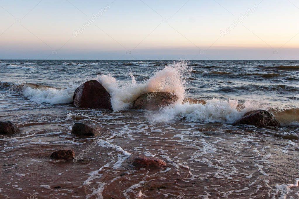 Stones Waves Sea Daytime Summer  Stock Photo