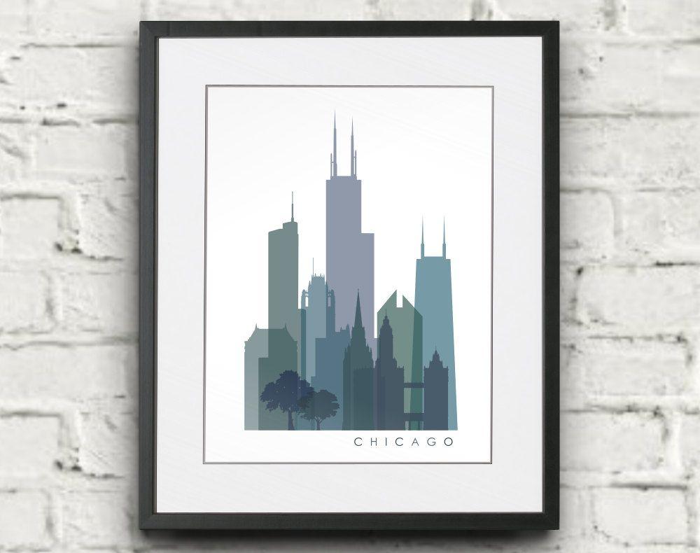 Chicago Skyline Printable Download - Monochrome Transparent ...