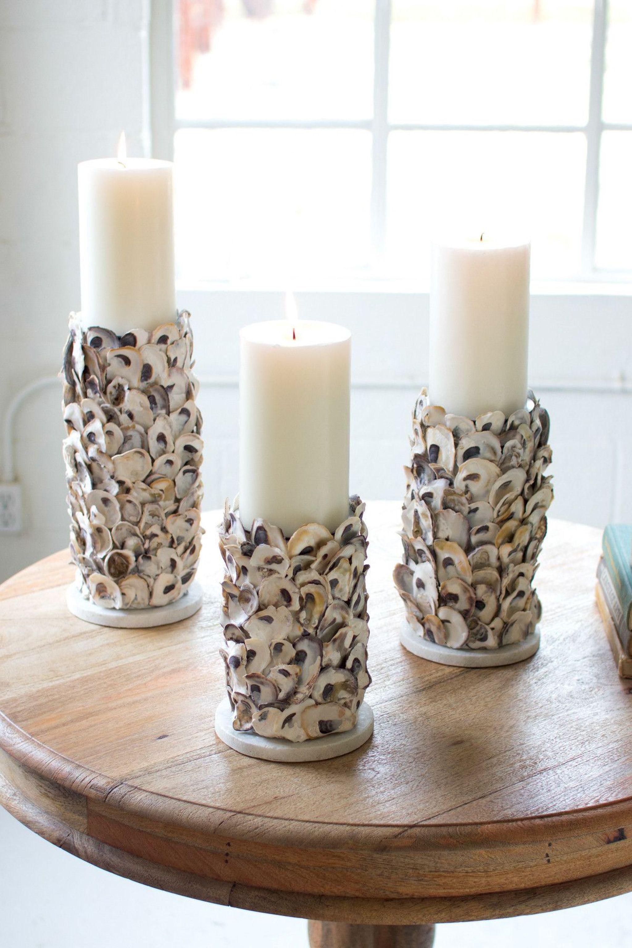 Kalalou Oyster Shell Pillar Candle Holders Set 3