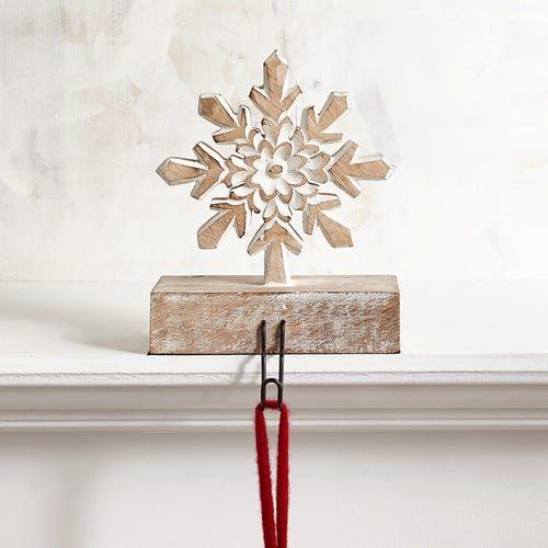 Whitewashed Wooden Snowflake Stocking Holder   Wooden ...