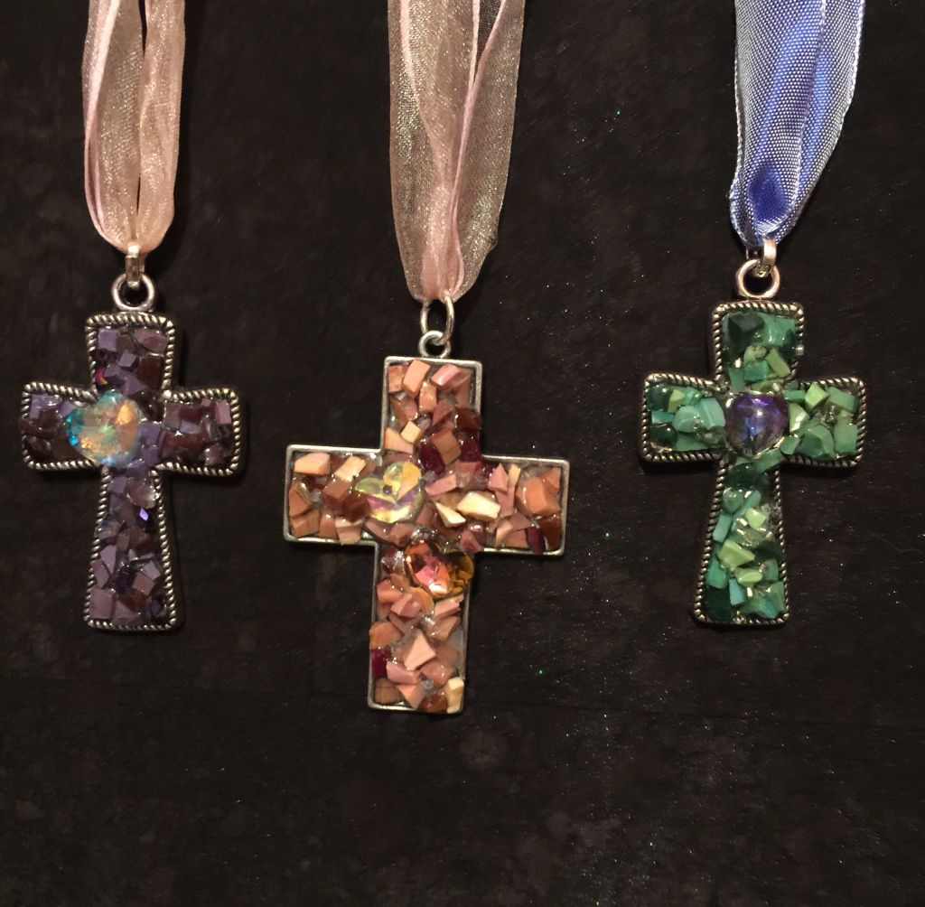 Mosaic cross pendants with Italian smalti....