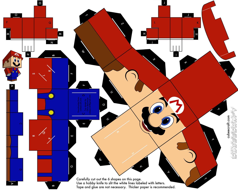 Papercraft: Mario Bross | Mario, Imprimibles y Cajas