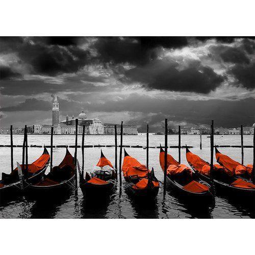 Photo of East Urban Home glass picture Around the World Venice, graphic print in orange | Wayfair.de